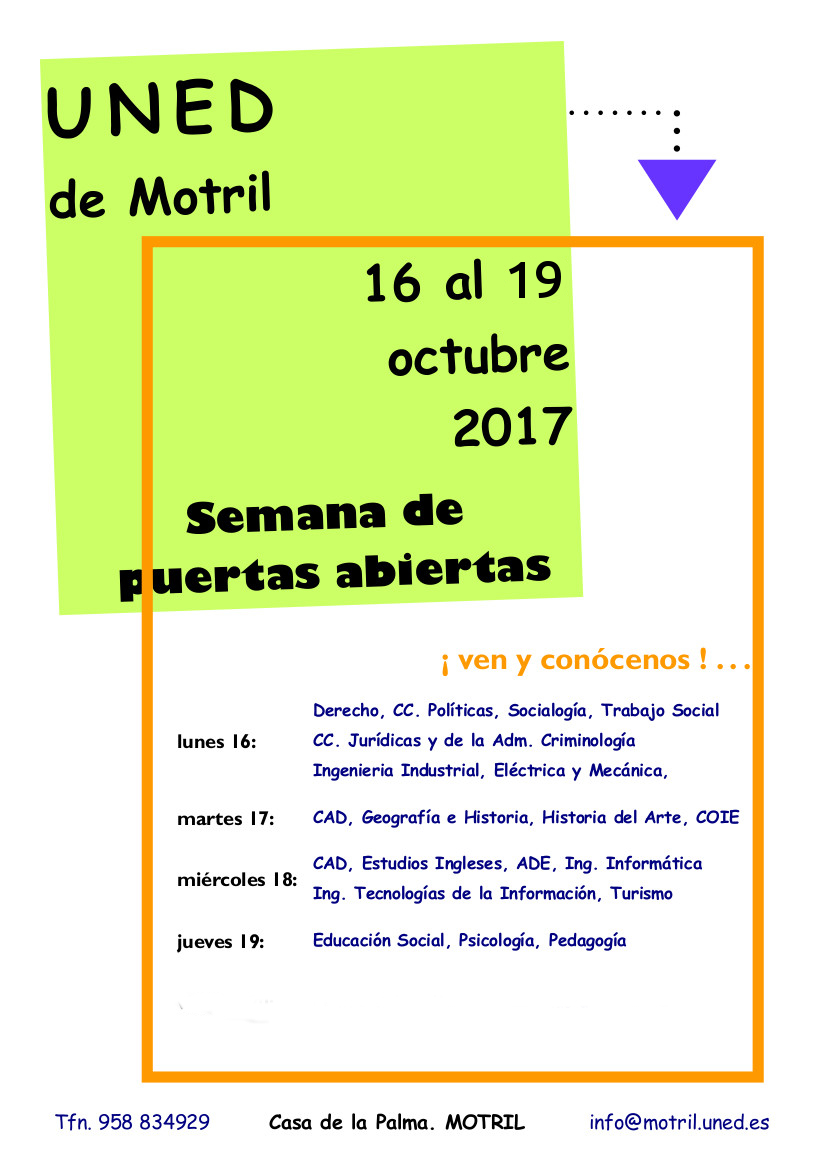 Semana de puertas abiertas UNED Motril (del 16 al 19 de Octubre)