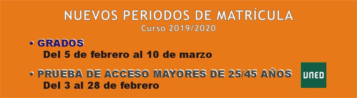 Nuevos periodos de matrícula Curso 2019/2020