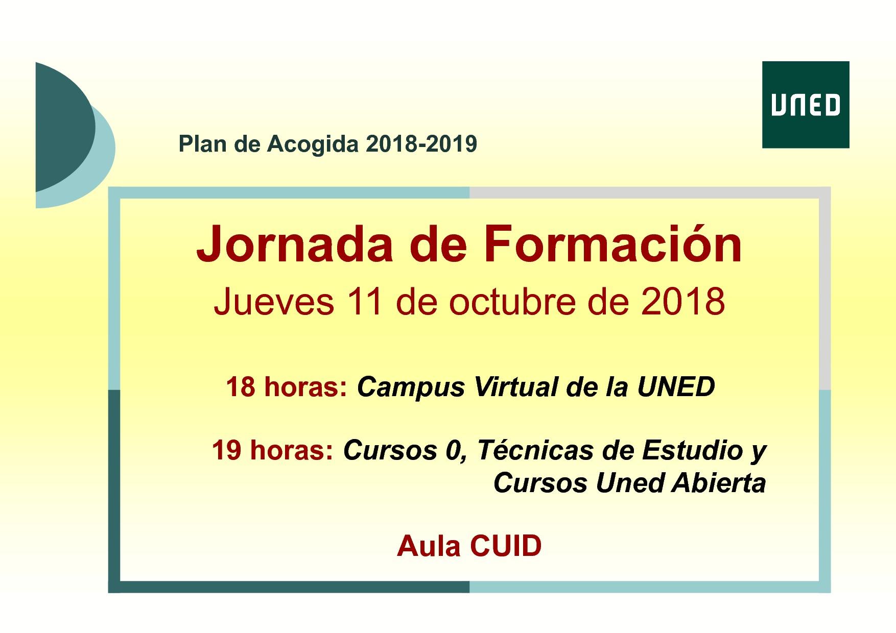 Jornadas De Acogida Y Formación Del 9 Al 11 De Octubre