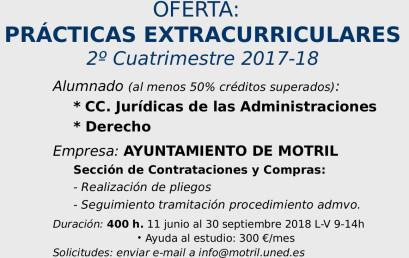 OFERTA: PRÁCTICAS EXTRACURRICULARES 2º Cuatrimestre 2017-18